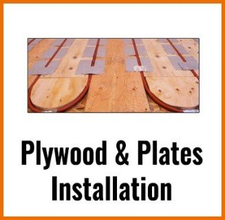 plywood-and-plates installation