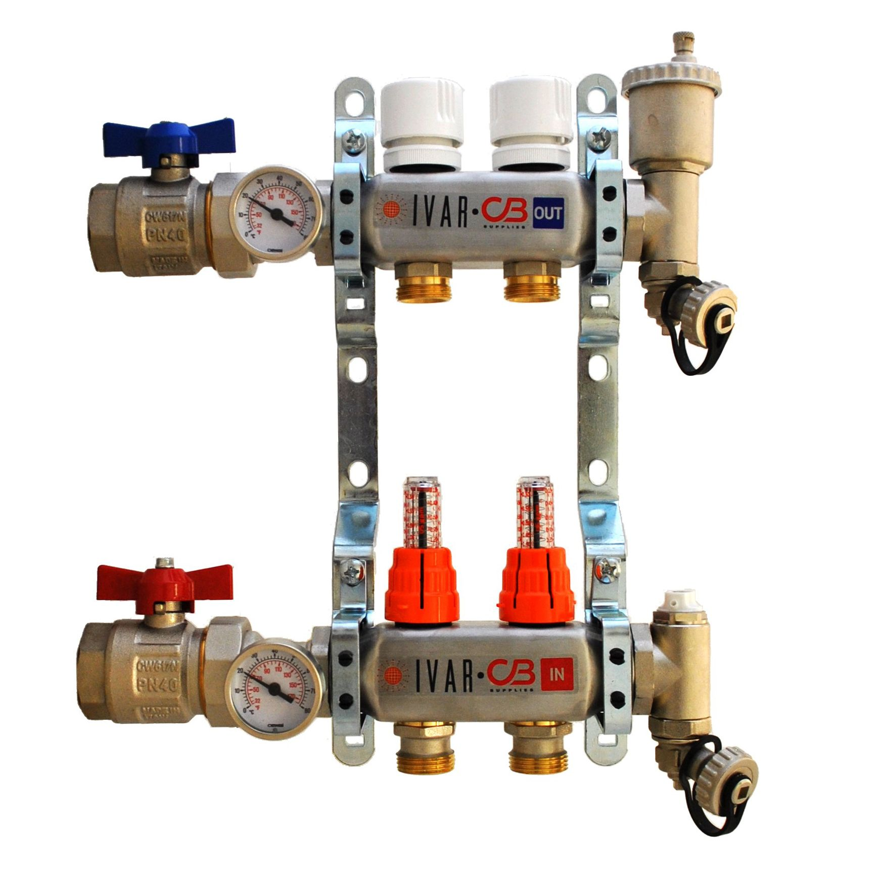 Ivar Stainless Steel Hydronic Manifold For Radiant Floor Heating Ports